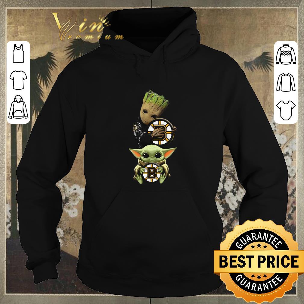 Awesome Baby Yoda and Baby Groot hug Boston Bruins Star Wars shirt sweater 4 - Awesome Baby Yoda and Baby Groot hug Boston Bruins Star Wars shirt sweater
