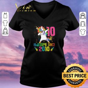 Hot Awesome Since 2010 10 Years Old 10th Birthday Unicorn Dabbing shirt sweater