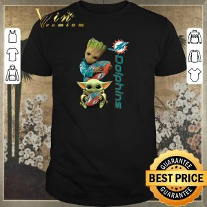 Pretty Baby Groot And Baby Yoda Hug Miami Dolphins shirt sweater