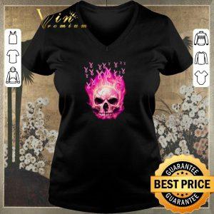 Top Breast cancer awareness fire skull shirt sweater