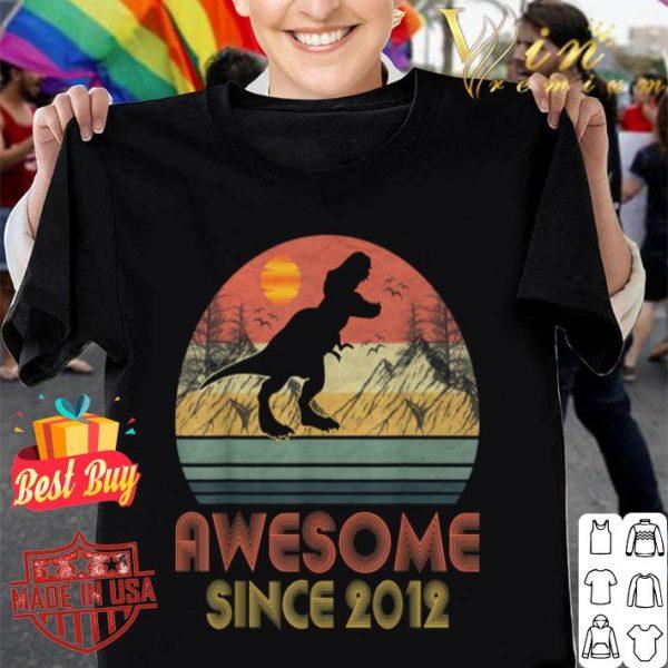 7th Birthday Gift Awesome 2012 Dinosaur 7 Yrs Old shirt