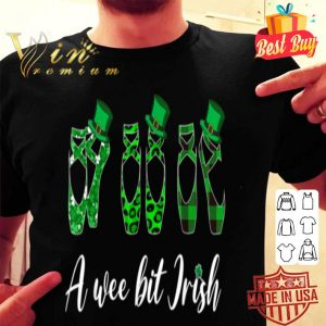 A Wee Bit Irish Green Plaid Ballet Shoes St Patrick's Day T-shirt
