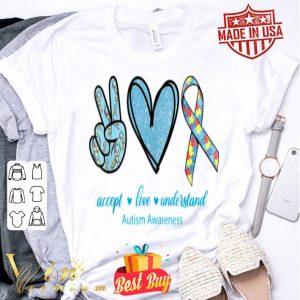 Autism Awareness Peace Love Hope Puzzle shirt