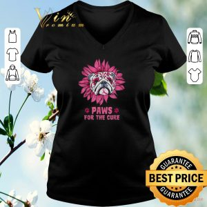 Awesome Bulldog paws for the cure Breast Cancer Awareness shirt sweater