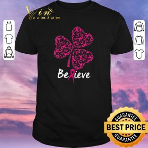 Funny Breast cancer Awareness believe shamrock St. Patrick's day shirt sweater