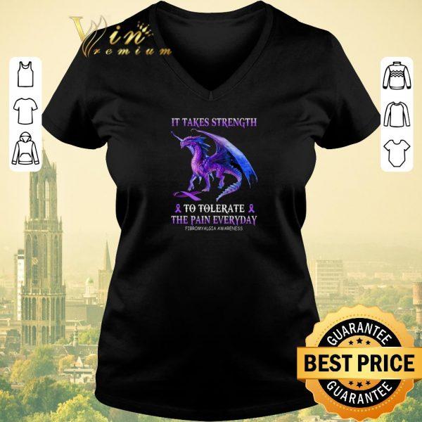 Original Purple Dragon it takes strength to tolerate the pain everyday Fibromyalgia awareness shirt sweater