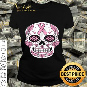 Wife Mom Breast Cancer Awareness Skull Pink Ribbon shirt