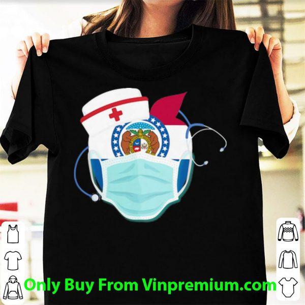 Apple Nurse Stethoscope Missouri Flag Covid-19 Shirt