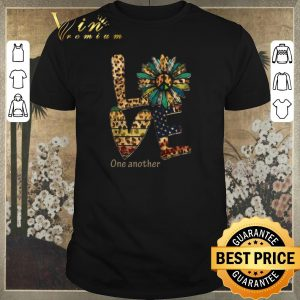 Pretty Love One Another Flowers Leopard American Flag shirt sweater