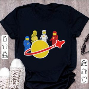 Blue yellow white and red Lego spaceman shirt