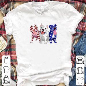 Red white and blue Pitbull flag shirt