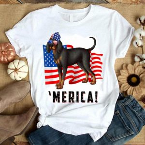 4th Of July Black And Tan Coonhound Dog Merica Tee Shirt