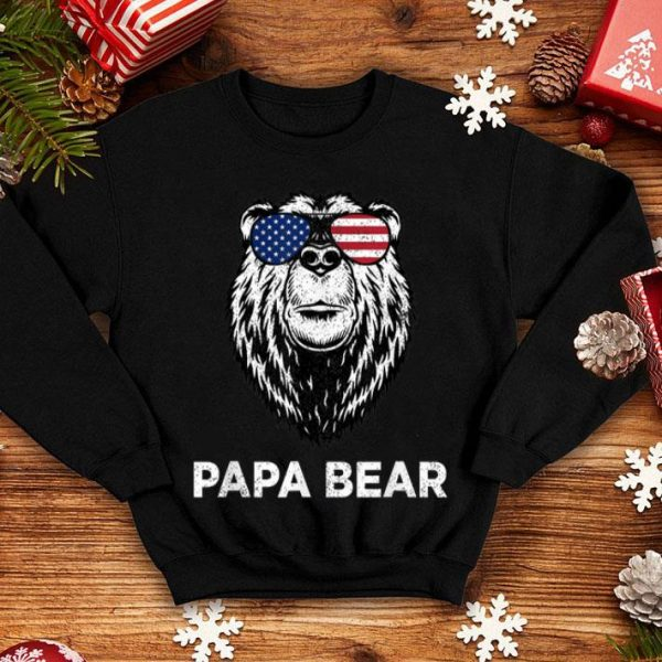 4th Of July Papa Bear American Flag Glasses Patriotic Men Shirt