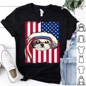 4th of July merica patriotic USA Flag Shid Tzu shirt