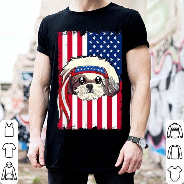 4th of July merica patriotic USA Flag Shid Tzu shirt