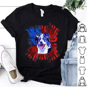 Australian Shepherd American Flag Splash Aussie Dog shirt