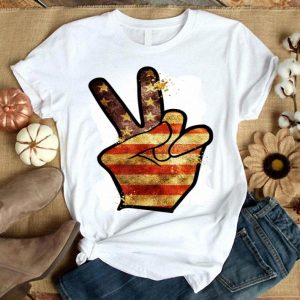 Fourth 4th Of July American Flag Peace Sign Hand shirt