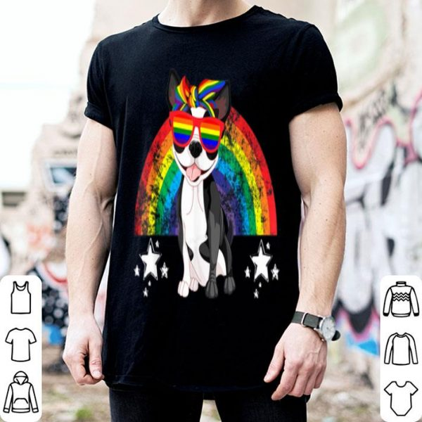 LGBT Boston Terrier Dog Gay Pride Rainbow Shirt