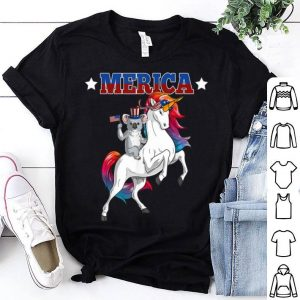 Merica Koala Unicorn Usa American Flag 4th Of July Patriotic Shirt