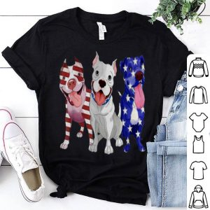 Pitbull Red White Blue Stars American Flag 4th Of July shirt
