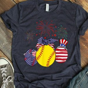Red White Blue Softball Usa Flag Firework 4th Of July shirt