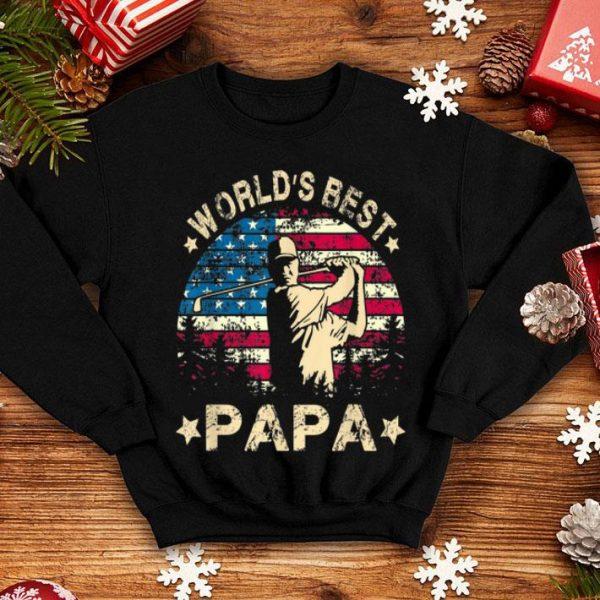 World Best Golf Papa American Flag 4th Of July shirt