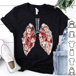 Anatomical Lungs And Flowers Tee shirt