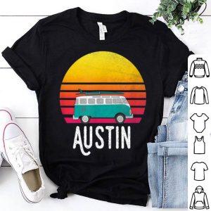 Austin Retro Sunset Surfing Hippie Van Art shirt