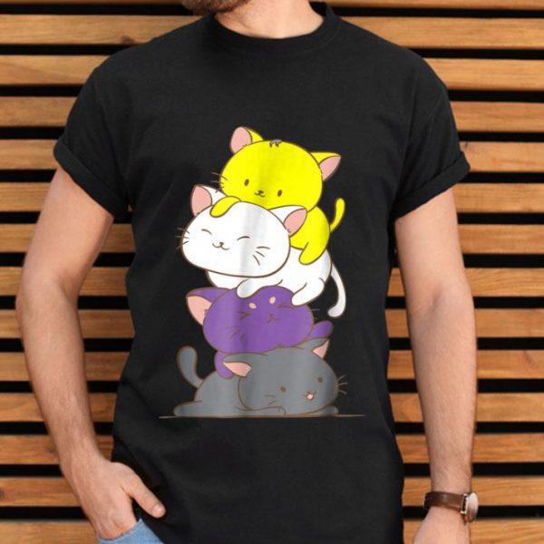 Kawaii Cat Pile LGBTq Non Binary Pride Flag Kittens shirt