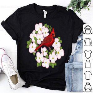 Red Cardinal Bird And Pink Dogwood Flower shirt