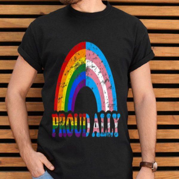 Vintage Proud Ally Flag Rainbow LGBT Transgender Pride Month shirt