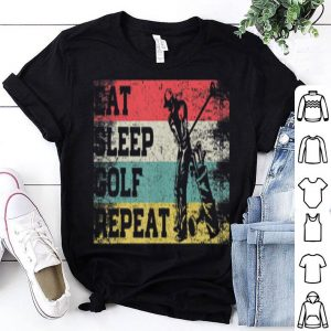 Vintage Retro Eat Sleep Golf Repeat Golfing Golfer shirt