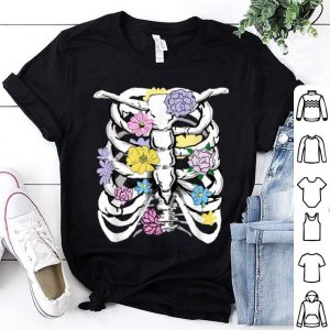 White Ribcage Anatomy Pastel Flowers Goth Punk Grunge shirt