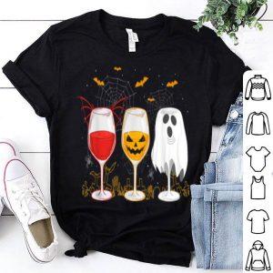 Awesome Three Wine Glasses Halloween Costume Dracula Pumpkin shirt