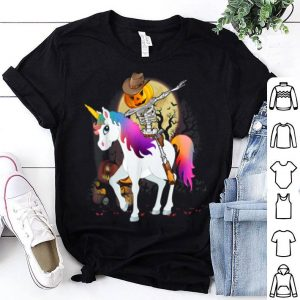 Beautiful Dabbing Pumpkin Skeleton Riding Unicorn Halloween shirt