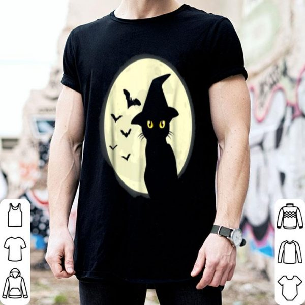 Hot Black Cat And Full Moon Witch Hat Bats shirt