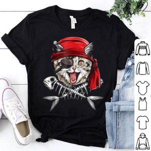 Hot Cat Pirate Jolly Roger Flag Skull And Crossbones shirt