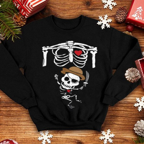 Hot Cute Pregnancy Pirate Skeleton Baby Halloween Costume shirt
