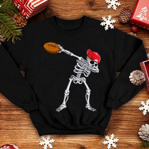 Hot Skeleton Dabbing With Rugby Halloween Costume Gift shirt
