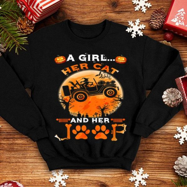 Nice A Girl Her Cat And Her Jeep Halloween Pumpkin And Witch shirt