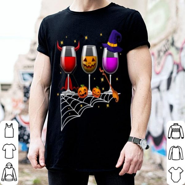 Official Three Glasses Of Wines Halloween Wine shirt