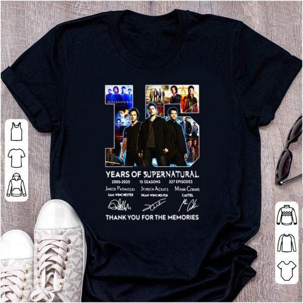 Original 15 Years Of Supernatural Thank For The Memories Signature shirt
