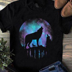 Pretty Howling Wolf Galaxy Moon shirt
