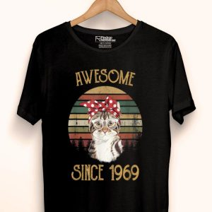 Vintage 50th Birthday Legend Born In 1969 Cat Lover shirt