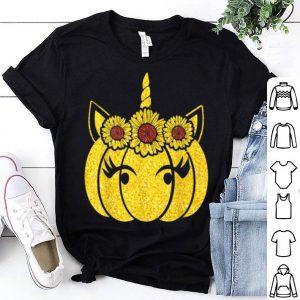 Funny Costume Unicorn Pumpkin Sunflower Halloween For Women Girl shirt