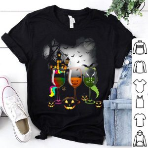 Wine Glass Of Unicorn Witchcraft Halloween Funny shirt
