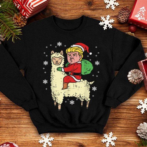 Awesome Funny Christmas Trump Riding Llama Santa Xmas Gift shirt
