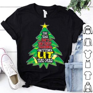 Funny Let's Get Lit AF Christmas Tree Lights Adult Drinking Humor shirt