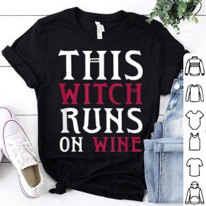 Funny Runs On Wine This Witch Runs On Wine - Halloween Running shirt