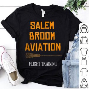Funny Salem Broom Aviation Flying Lessons Witch Halloween shirt